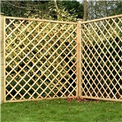 6FT Pressure Treated Diamond Trellis Fencing Panels - 3 Panels Only
