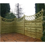 5FT Pressure Treated Concave Horizontal Weave + Trellis - 10 Panels
