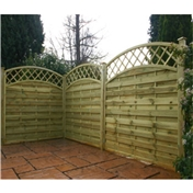 4FT Pressure Treated Convex Horizontal Weave + Trellis - 3 Panels