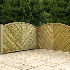 ** DUE BACK IN STOCK 13th APRIL ** 4FT Pressure Treated Curved Chevron Weave Panels - 1 Panel Only + Free Delivery*