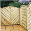 6FT Pressure Treated Curved Chevron Weave Panels - 3 Panels